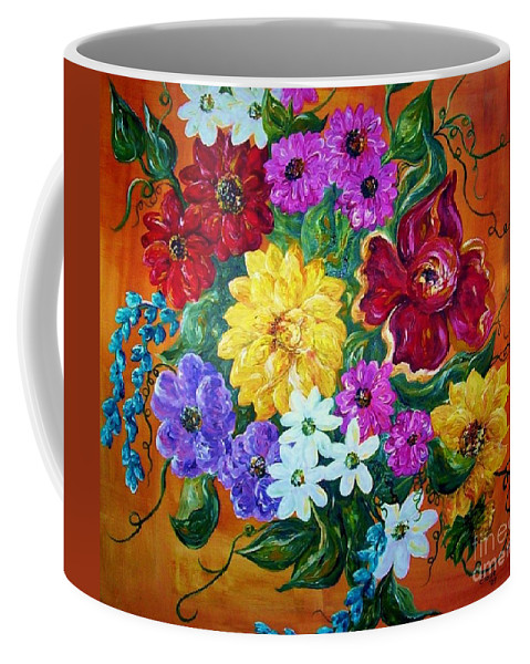 Flower Coffee Mug featuring the painting Beauties In Bloom by Eloise Schneider