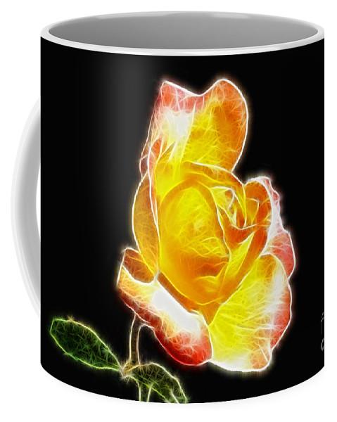 Beautiful Blooming Yellow Rose Coffee Mug featuring the digital art Beautiful Blooming Yellow Rose by Mariola Bitner