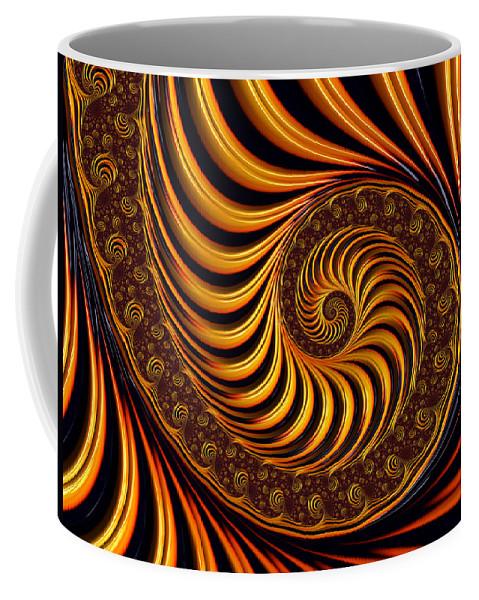 Fractal Coffee Mug featuring the digital art Beautiful Golden Fractal Spiral Artwork by Matthias Hauser