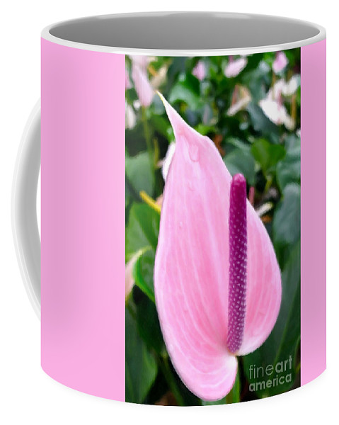 Beautiful Pink Anthurim Flower Coffee Mug featuring the painting Beautiful Pink Anthurim Flower by Jeelan Clark
