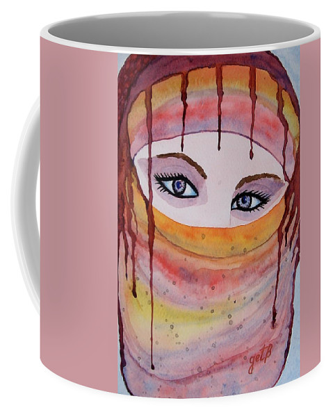 Midlle Eastern Woman Coffee Mug featuring the painting Beautiful Woman With Niqab Watercolor Painting by Georgeta Blanaru