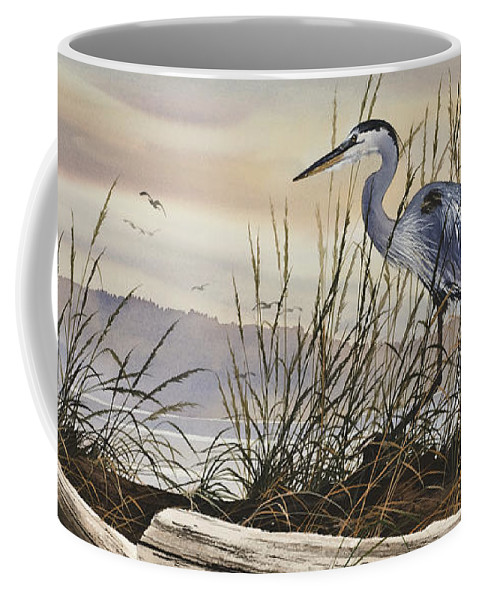Heron Fine Art Prints Coffee Mug featuring the painting Beauty Along The Shore by James Williamson