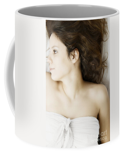 Caucasian; Woman; Lady; Female; Brunette; Beautiful; Elegant; Lovely; Dark Hair; 20s; White; Laying; Sheets; Bed; Fair; Prim; Proper; Feminine; Brown Eyes; Close Up; Strapless Coffee Mug featuring the photograph Beauty In White by Margie Hurwich