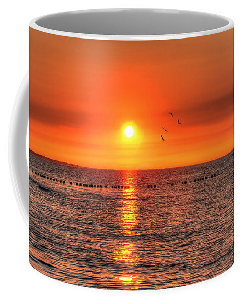 Ostsee Coffee Mug featuring the pyrography Beauty Sunset by Steffen Gierok