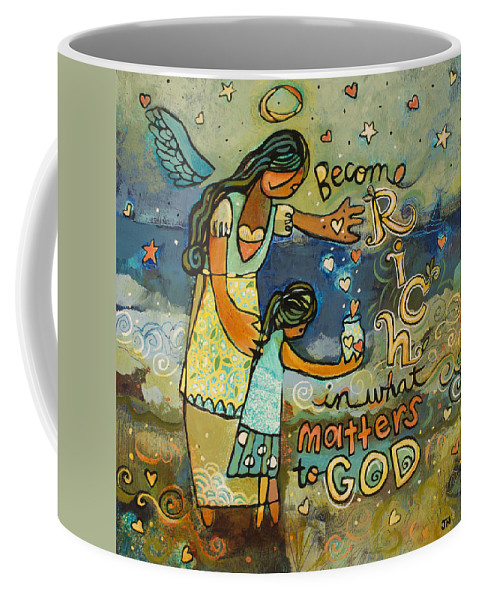 Jen Norton Coffee Mug featuring the painting Become Rich in what Matters to God by Jen Norton