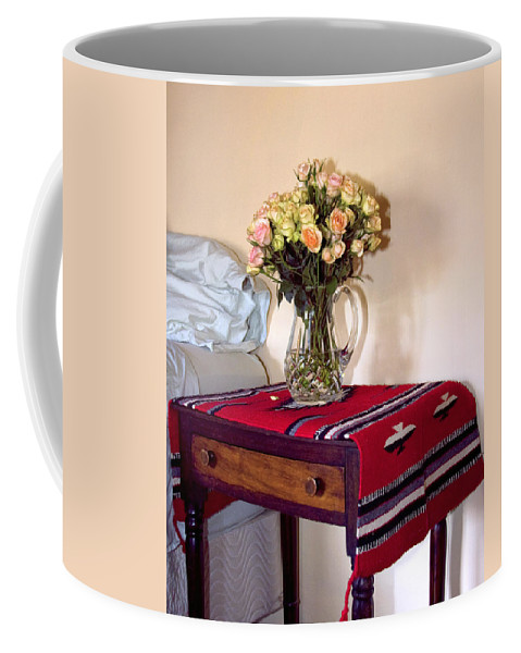 Still Life Coffee Mug featuring the photograph Bedside Desert Roses Palm Springs by William Dey