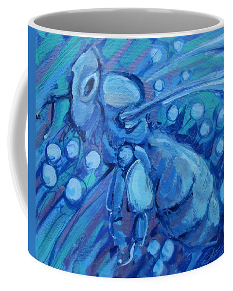 Bee Coffee Mug featuring the painting Bee Blue by Jeff Seaberg