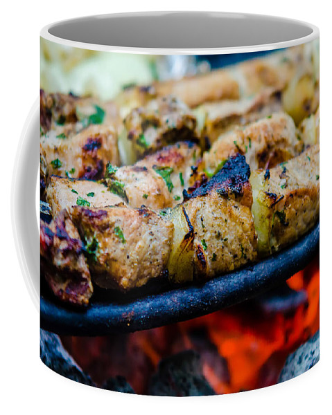 Barbecue Coffee Mug featuring the photograph Beef Kababs On The Grill Closeup by Alex Grichenko