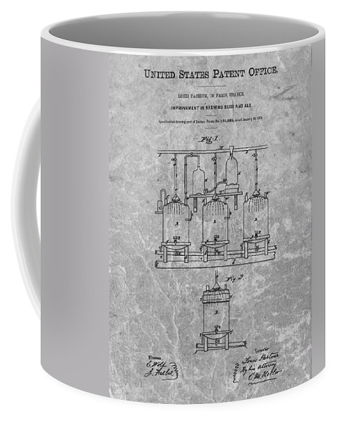 Beer Brewery Patent Coffee Mug featuring the drawing Beer Brewery Patent Charcoal by Dan Sproul