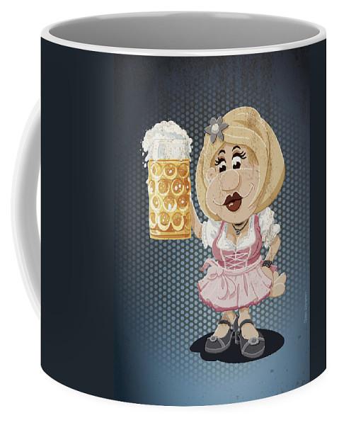 Frank Ramspott Coffee Mug featuring the digital art Beer Stein Dirndl Oktoberfest Cartoon Woman Grunge Color by Frank Ramspott