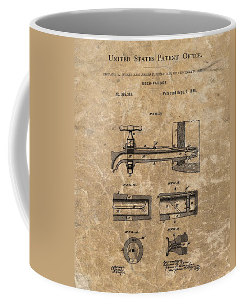Beer Tap Patent Coffee Mug featuring the mixed media Beer Tap Patent by Dan Sproul