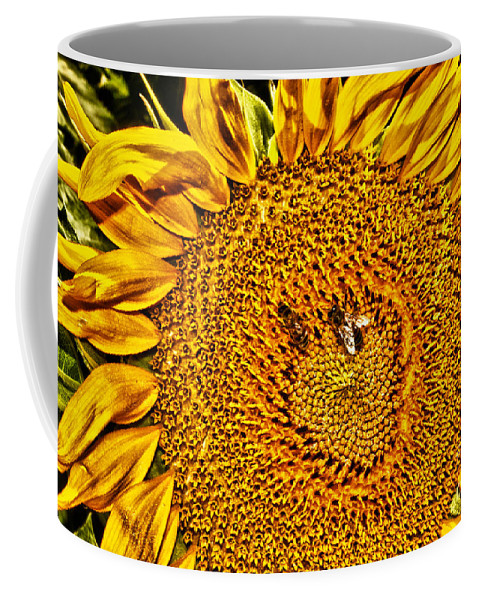 Flower Coffee Mug featuring the photograph Bees On Sunflower Hdr by Robert Frederick