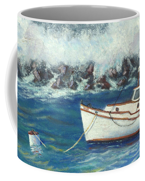 Ocean Coffee Mug featuring the painting Behind The Breakwall by Jerry McElroy