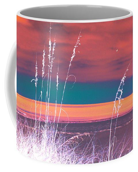 Digital Photograph Coffee Mug featuring the digital art Behind The Sea Oats by Laurie Pike