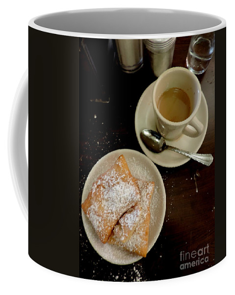 Nola Coffee Mug featuring the photograph New Orleans Beignets And Coffee Au Lait by Michael Hoard