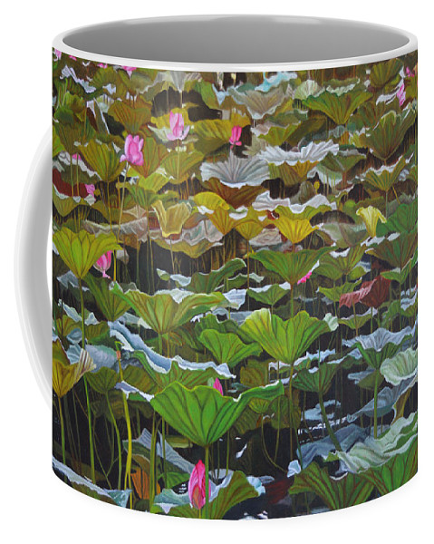 Waterlily Coffee Mug featuring the painting Beijing In August by Thu Nguyen