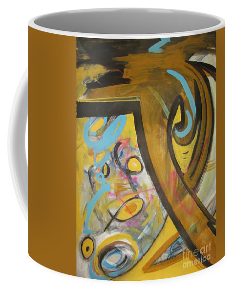 Abstract Coffee Mug featuring the painting Being Easy Original Abstract Colorful Figure Painting For Sale Yellow Umber Blue Pink by Seon-Jeong Kim