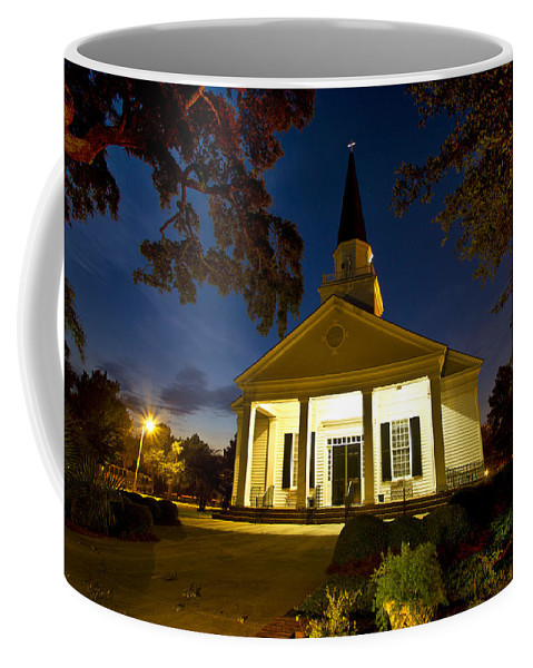 Belin Coffee Mug featuring the photograph Belin Memorial Umc After Dark by Bill Barber