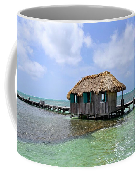 Pier Coffee Mug featuring the photograph Belize Pier And Seascape by Kristina Deane