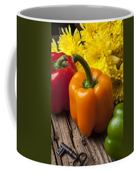 Bell Coffee Mug featuring the photograph Bell Peppers And Poms by Garry Gay