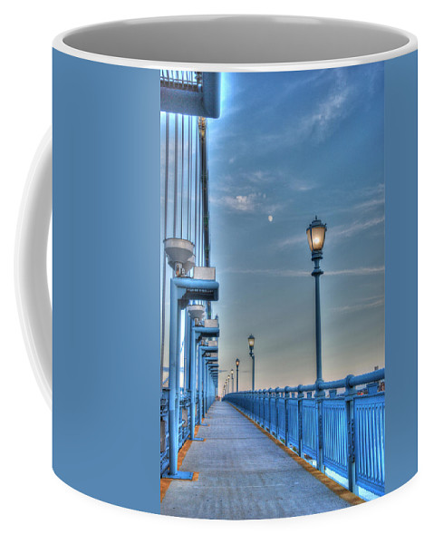 Ben Franklin Bridge Coffee Mug featuring the photograph Ben Franklin Bridge Walkway by Jennifer Ancker