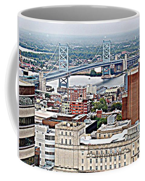 Aerial Philadelphia Ben Franklin Bridge Delaware River City Coffee Mug featuring the photograph Ben Franklin View by Alice Gipson