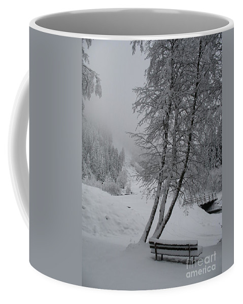 Bench Coffee Mug featuring the photograph Bench In The Snow by Christiane Schulze Art And Photography