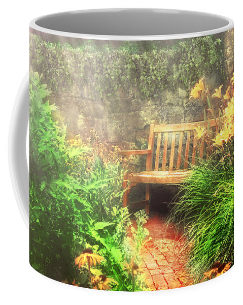 Savad Coffee Mug featuring the photograph Bench - Privacy by Mike Savad