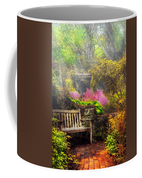 Savad Coffee Mug featuring the photograph Bench - Tranquility II by Mike Savad