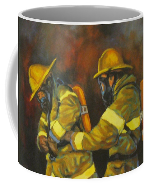 Benevolent Warriors Coffee Mug featuring the painting Benevolent Warriors by John Malone