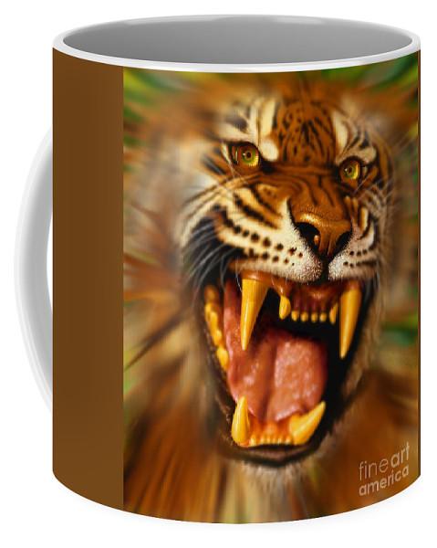 Tiger Coffee Mug featuring the digital art Bengal by Jurek Zamoyski