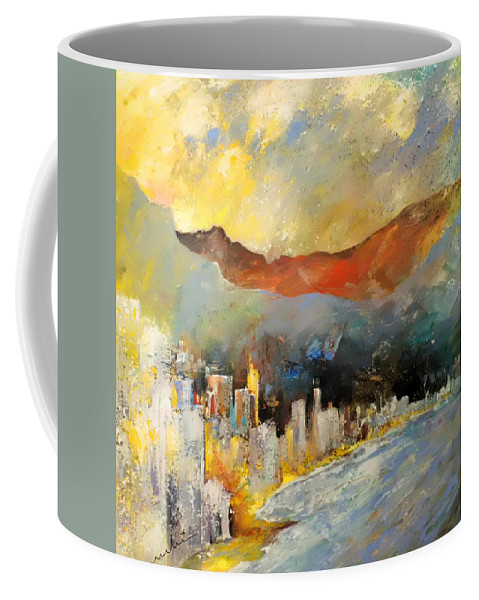 Landscapes Coffee Mug featuring the painting Benidorm 01 by Miki De Goodaboom