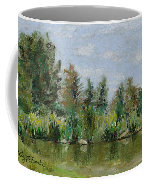Nature Coffee Mug featuring the painting Benson Sculpture Park by Mary Benke