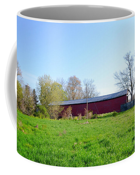 Griesemer's Coffee Mug featuring the photograph Berks County - Griesemer's Covered Bridge by Bill Cannon