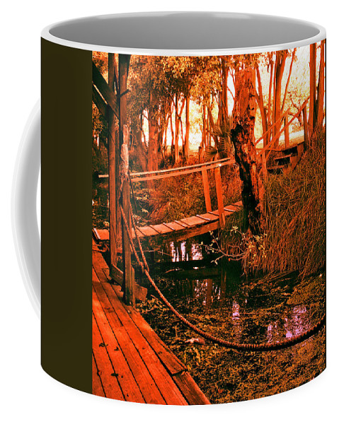 Sacramento River Delta Coffee Mug featuring the digital art Berth 14 Dock by Joseph Coulombe