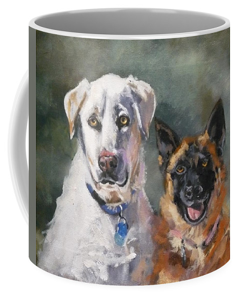 Belgian Malinois Coffee Mug featuring the painting Best Buds by J P Childress