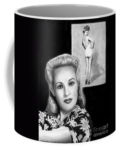 Betty Grable Coffee Mug featuring the drawing Betty Grable by Peter Piatt