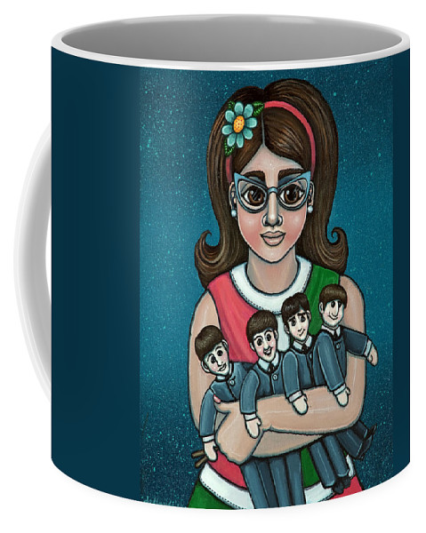 1960 Coffee Mug featuring the painting Betty Jeans BEATLES by Victoria Jones