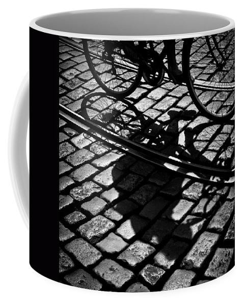 Cyclist Coffee Mug featuring the photograph Between The Lines by Dave Bowman