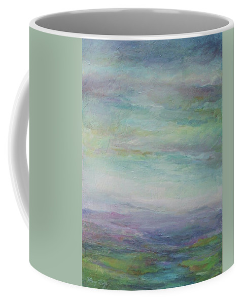 Landscape Coffee Mug featuring the painting Beyond The Distant Hills by Mary Wolf