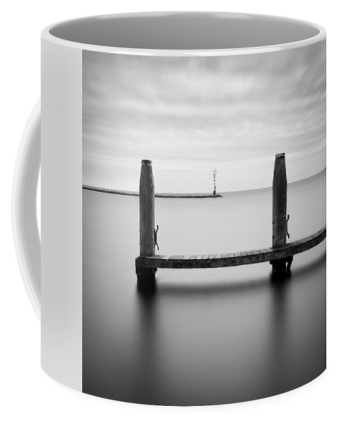 Boat Jetty Coffee Mug featuring the photograph Beyond The Jetty by Dave Bowman
