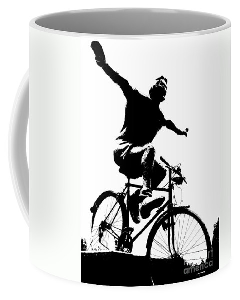 Bicycle Coffee Mug featuring the mixed media Bicycle - Black And White Pixels by Daliana Pacuraru