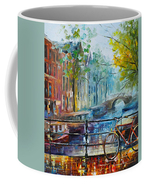 Amsterdam Coffee Mug featuring the painting Bicycle in Amsterdam by Leonid Afremov