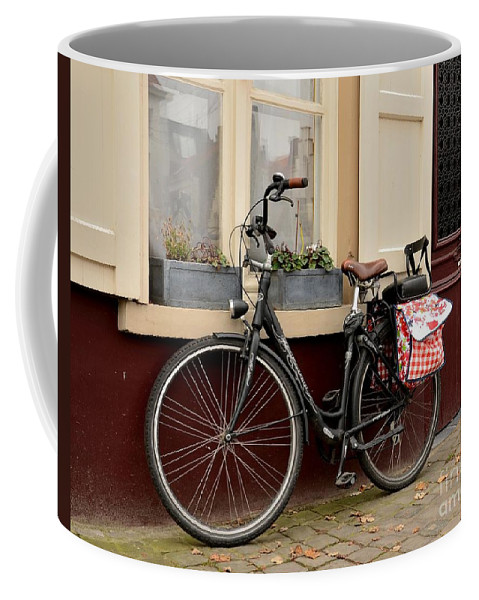 Bike Coffee Mug featuring the photograph Bicycle With Baby Seat At Doorway Bruges Belgium by Imran Ahmed