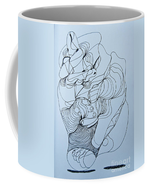 Doodle Coffee Mug featuring the painting Biding Time - Doodle by James Lavott