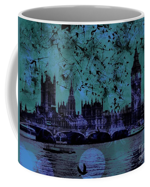 Big Ben Coffee Mug featuring the digital art Big Ben On The River Thames by Marina McLain