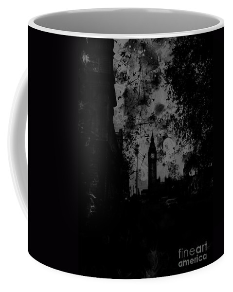 Big Ben Coffee Mug featuring the digital art Big Ben Street Black And White by Marina McLain