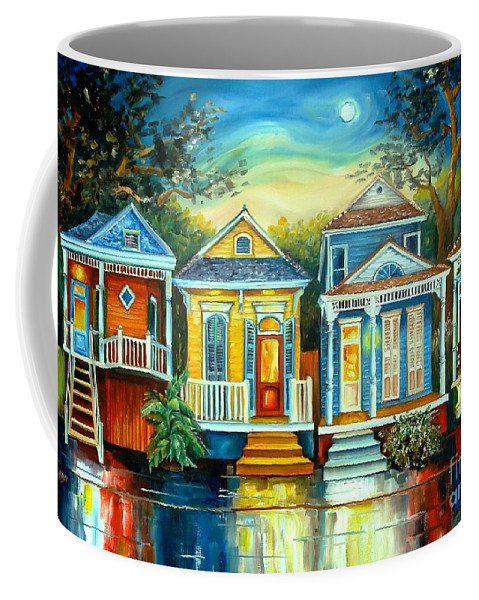 New Orleans Coffee Mug featuring the painting Big Easy Moon by Diane Millsap