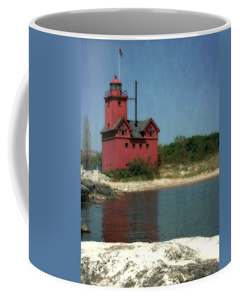 Michigan Coffee Mug featuring the photograph Big Red Holland Michigan Lighthouse by Michelle Calkins