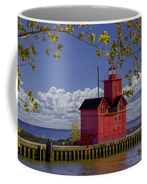 Art Coffee Mug featuring the photograph Big Red Lighthouse By Holland Michigan No.0255 by Randall Nyhof
